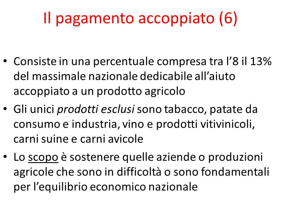 Il pagamento accoppiato (6) Consiste in una percentuale compresa tra l8 il 13% del massimale nazionale dedicabile allaiuto accoppiato a un prodotto ag