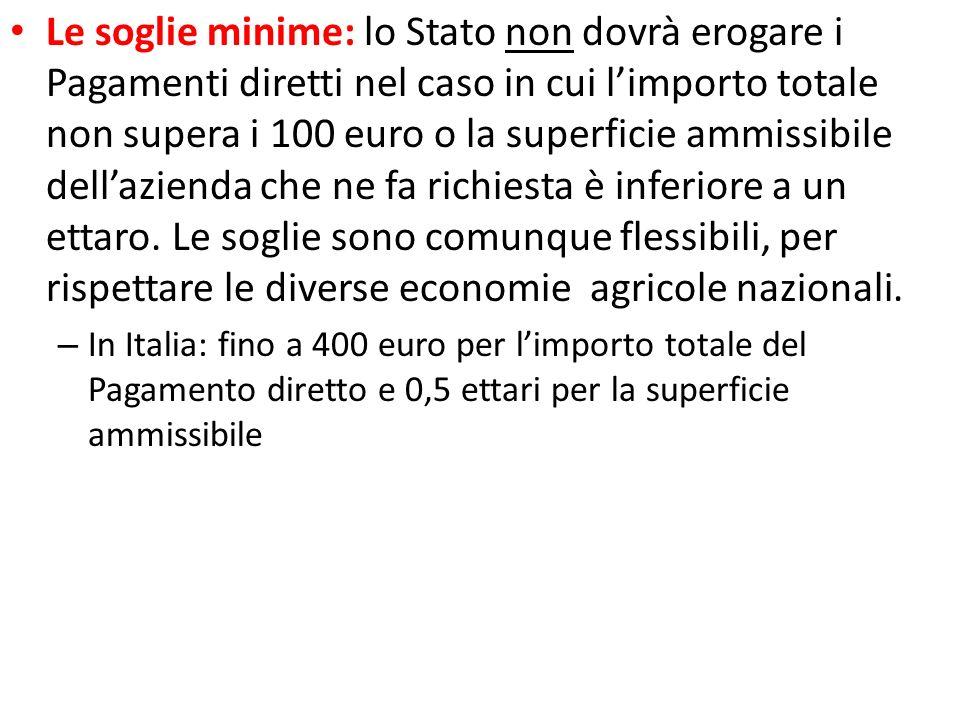 Le soglie minime: lo Stato non dovrà erogare i Pagamenti diretti nel caso in cui limporto totale non supera i 100 euro o la superficie ammissibile del
