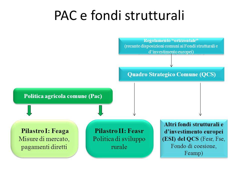 PAC e fondi strutturali Regolamento orizzontale (recante disposizioni comuni ai Fondi strutturali e dinvestimento europei) Quadro Strategico Comune (Q