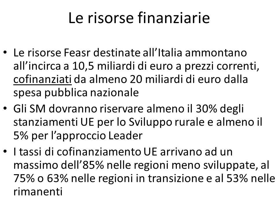 Le risorse finanziarie Le risorse Feasr destinate allItalia ammontano allincirca a 10,5 miliardi di euro a prezzi correnti, cofinanziati da almeno 20