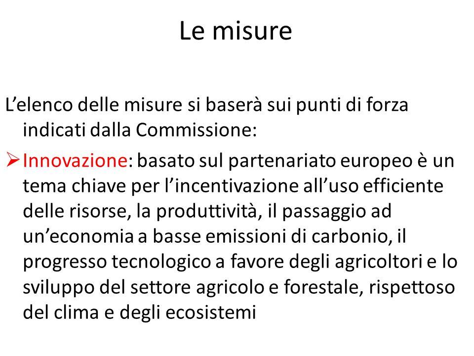 Le misure Lelenco delle misure si baserà sui punti di forza indicati dalla Commissione: Innovazione: basato sul partenariato europeo è un tema chiave