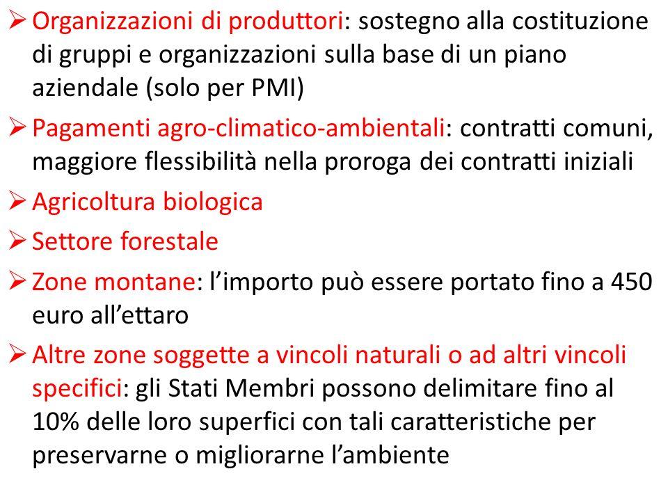 Organizzazioni di produttori: sostegno alla costituzione di gruppi e organizzazioni sulla base di un piano aziendale (solo per PMI) Pagamenti agro-cli