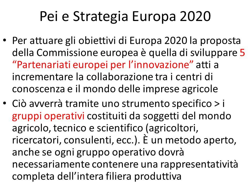 Pei e Strategia Europa 2020 Per attuare gli obiettivi di Europa 2020 la proposta della Commissione europea è quella di sviluppare 5 Partenariati europ