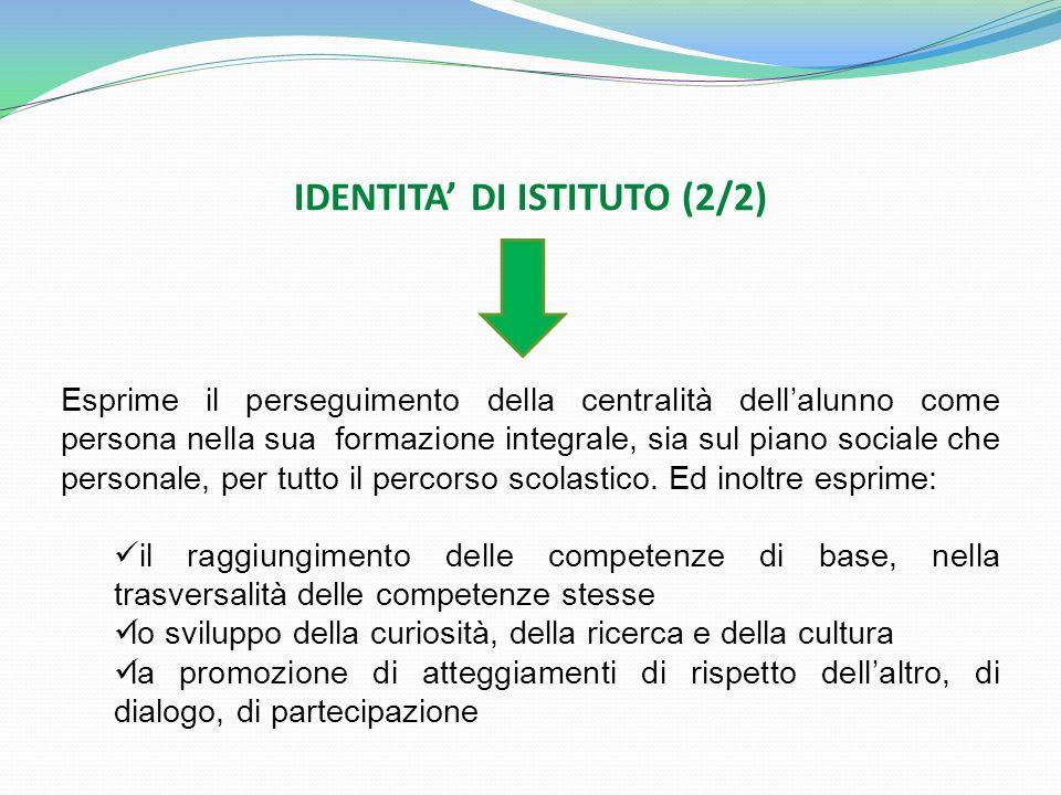 IDENTITA DI ISTITUTO (2/2) Esprime il perseguimento della centralità dellalunno come persona nella sua formazione integrale, sia sul piano sociale che