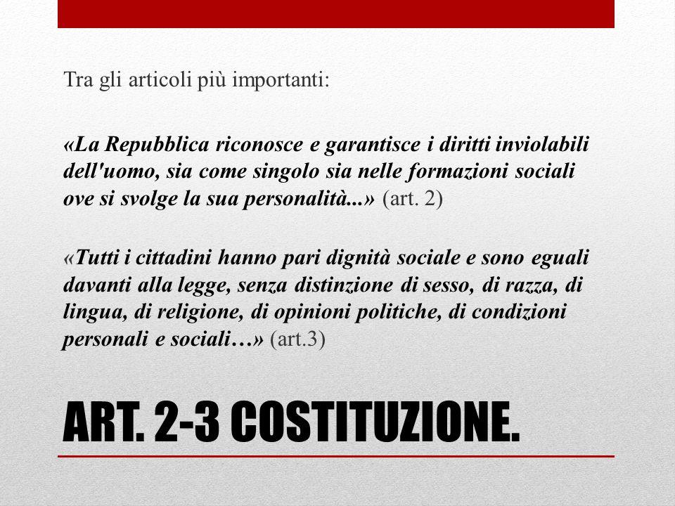 LA COSTITUZIONE ITALIANA È la legge fondamentale del nostro Stato.
