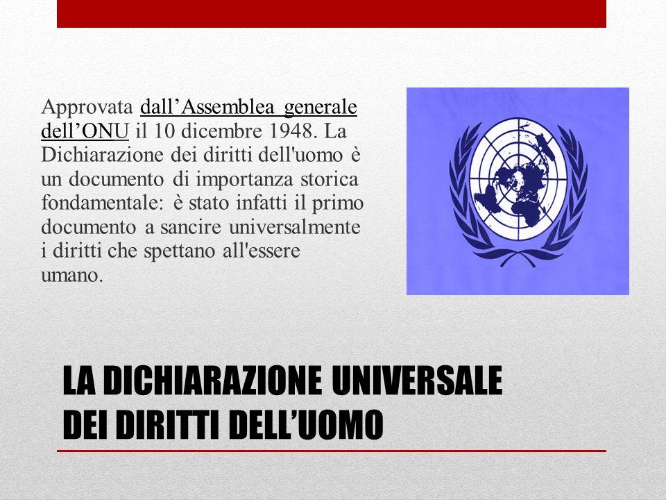 LA DICHIARAZIONE UNIVERSALE DEI DIRITTI DELLUOMO Approvata dallAssemblea generale dellONU il 10 dicembre 1948.