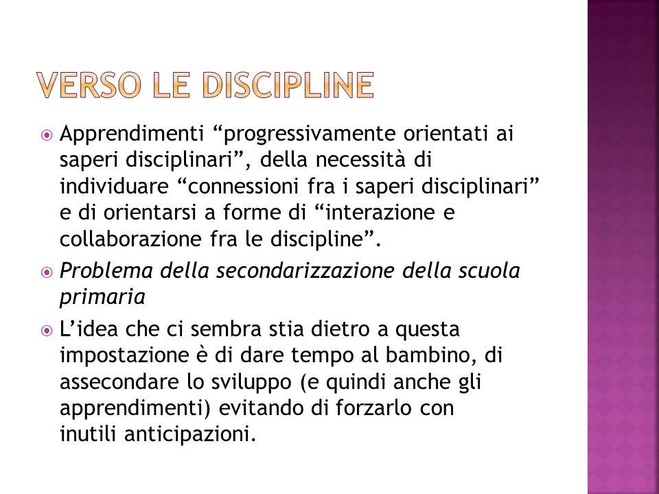 Apprendimenti progressivamente orientati ai saperi disciplinari, della necessità di individuare connessioni fra i saperi disciplinari e di orientarsi