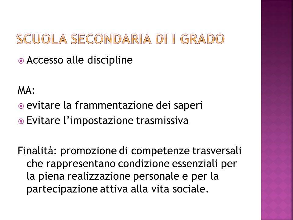 Accesso alle discipline MA: evitare la frammentazione dei saperi Evitare limpostazione trasmissiva Finalità: promozione di competenze trasversali che