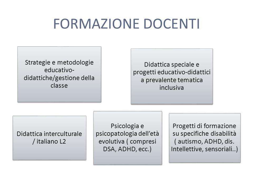 FORMAZIONE DOCENTI Strategie e metodologie educativo- didattiche/gestione della classe Didattica speciale e progetti educativo- didattici a prevalente