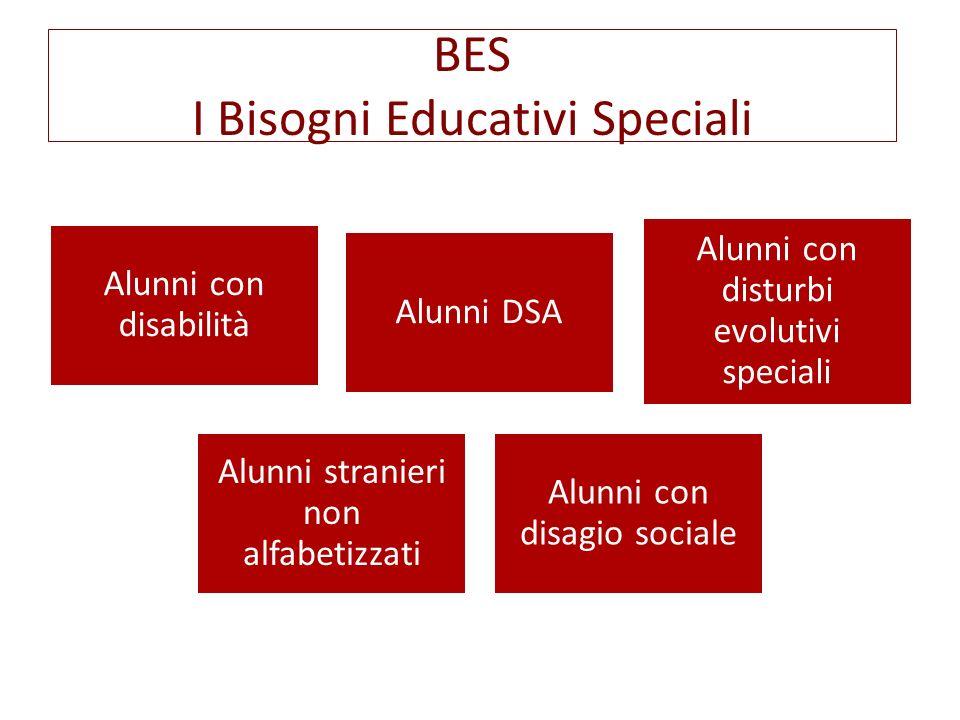 BES I Bisogni Educativi Speciali Alunni con disabilità Alunni DSA Alunni con disturbi evolutivi speciali Alunni stranieri non alfabetizzati Alunni con