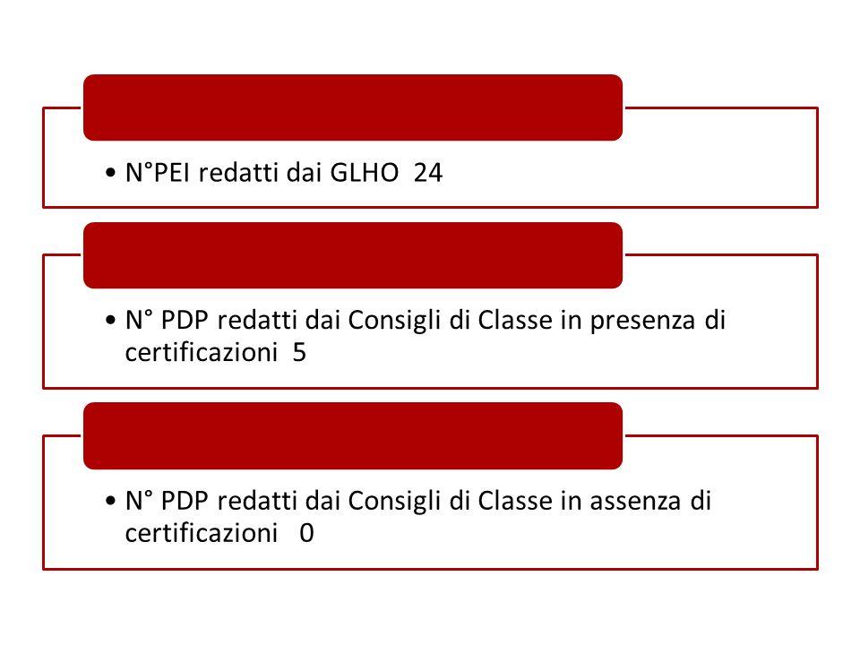 N°PEI redatti dai GLHO 24 N° PDP redatti dai Consigli di Classe in presenza di certificazioni 5 N° PDP redatti dai Consigli di Classe in assenza di ce