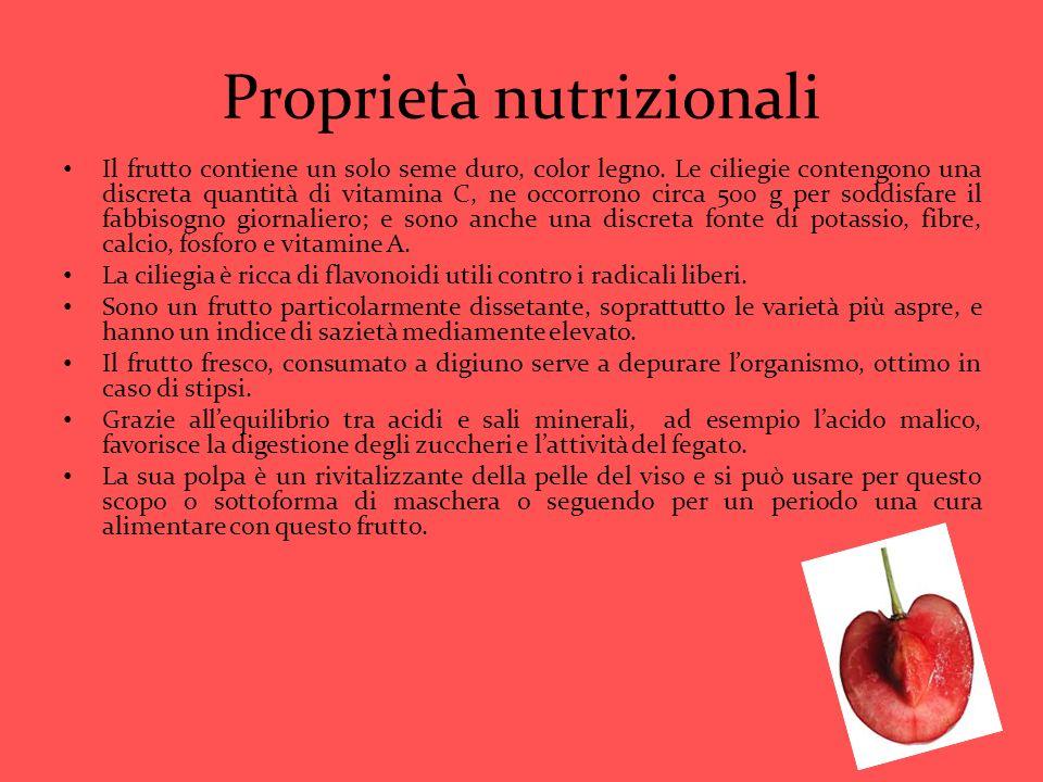 Proprietà nutrizionali Il frutto contiene un solo seme duro, color legno. Le ciliegie contengono una discreta quantità di vitamina C, ne occorrono cir