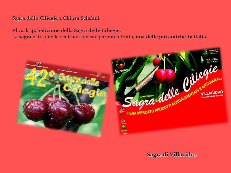 Sagra delle Ciliegie a Chiusa Sclafani Al via la 42° edizione della Sagra delle Ciliegie. La sagra è, tra quelle dedicate a questo purpureo frutto, un