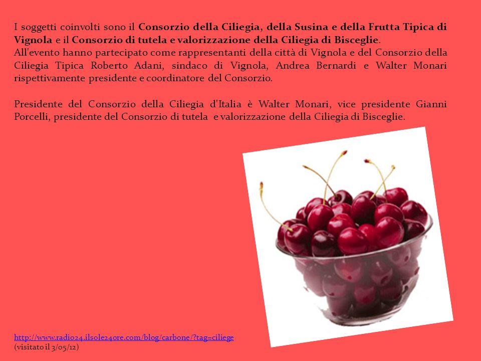 I soggetti coinvolti sono il Consorzio della Ciliegia, della Susina e della Frutta Tipica di Vignola e il Consorzio di tutela e valorizzazione della C