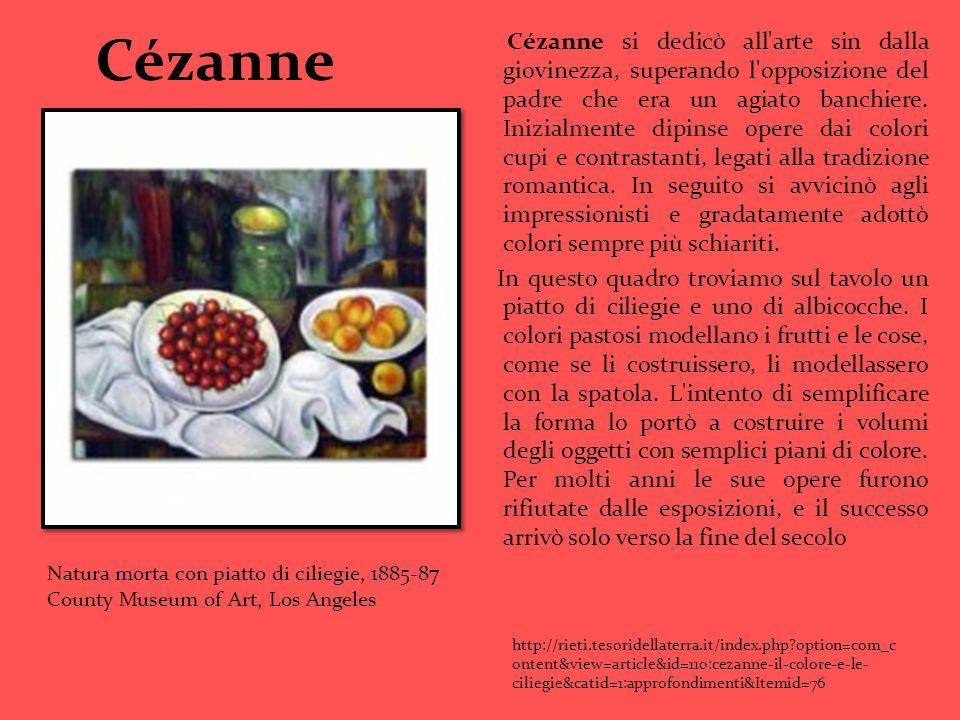 Cézanne Cézanne si dedicò all'arte sin dalla giovinezza, superando l'opposizione del padre che era un agiato banchiere. Inizialmente dipinse opere dai