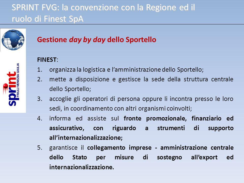Gestione day by day dello Sportello FINEST: 1.organizza la logistica e lamministrazione dello Sportello; 2.mette a disposizione e gestisce la sede del