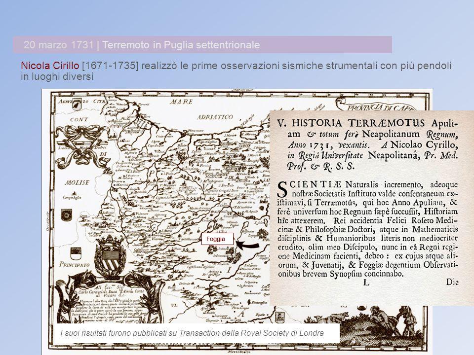 Nicola Cirillo [1671-1735] realizzò le prime osservazioni sismiche strumentali con più pendoli in luoghi diversi I suoi risultati furono pubblicati su Transaction della Royal Society di Londra 20 marzo 1731 | Terremoto in Puglia settentrionale Foggia