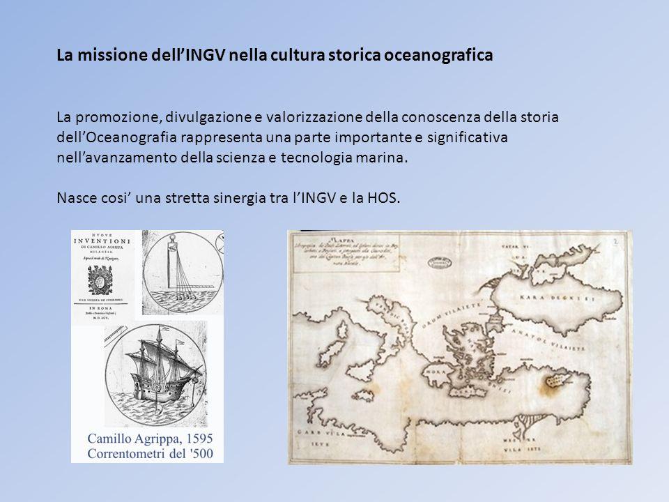 La missione dellINGV nella cultura storica oceanografica La promozione, divulgazione e valorizzazione della conoscenza della storia dellOceanografia rappresenta una parte importante e significativa nellavanzamento della scienza e tecnologia marina.