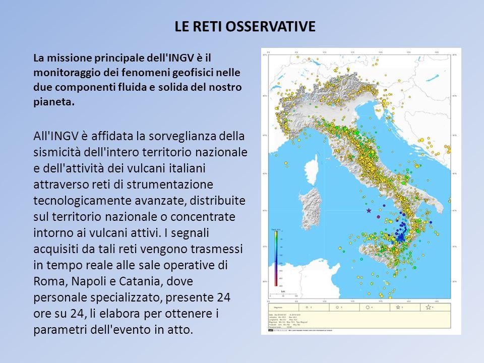 All INGV è affidata la sorveglianza della sismicità dell intero territorio nazionale e dell attività dei vulcani italiani attraverso reti di strumentazione tecnologicamente avanzate, distribuite sul territorio nazionale o concentrate intorno ai vulcani attivi.