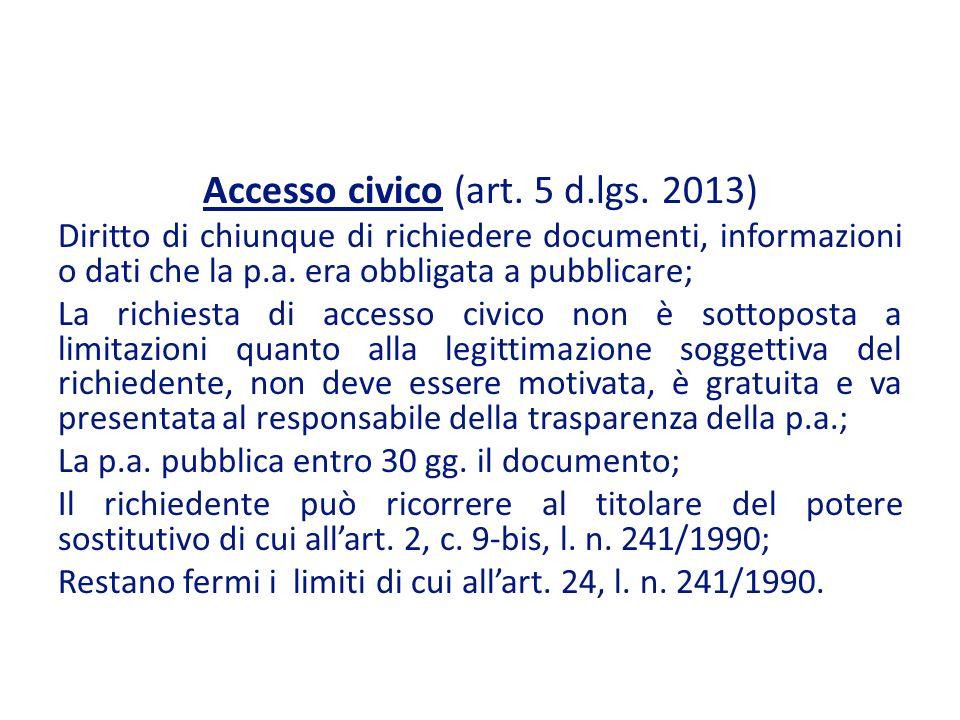 Accesso civico (art.5 d.lgs.