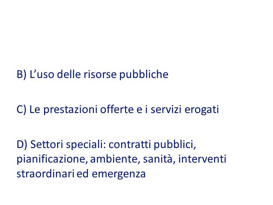 B) Luso delle risorse pubbliche C) Le prestazioni offerte e i servizi erogati D) Settori speciali: contratti pubblici, pianificazione, ambiente, sanità, interventi straordinari ed emergenza
