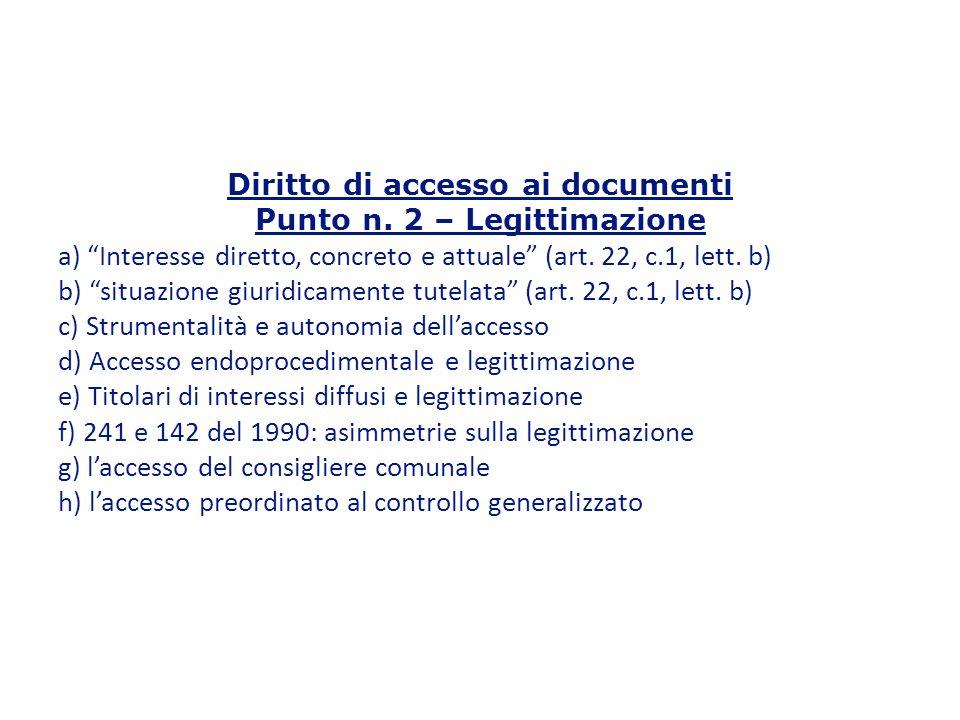 Diritto di accesso ai documenti Punto n.