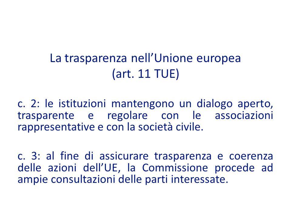 La trasparenza nellUnione europea (art.11 TUE) c.