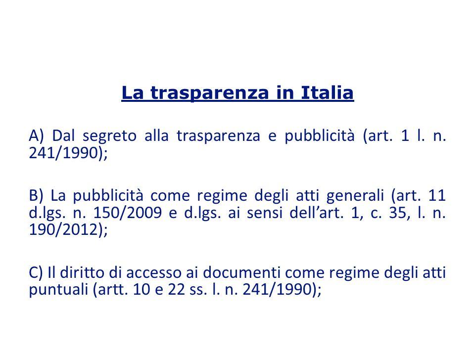 La trasparenza in Italia A) Dal segreto alla trasparenza e pubblicità (art.