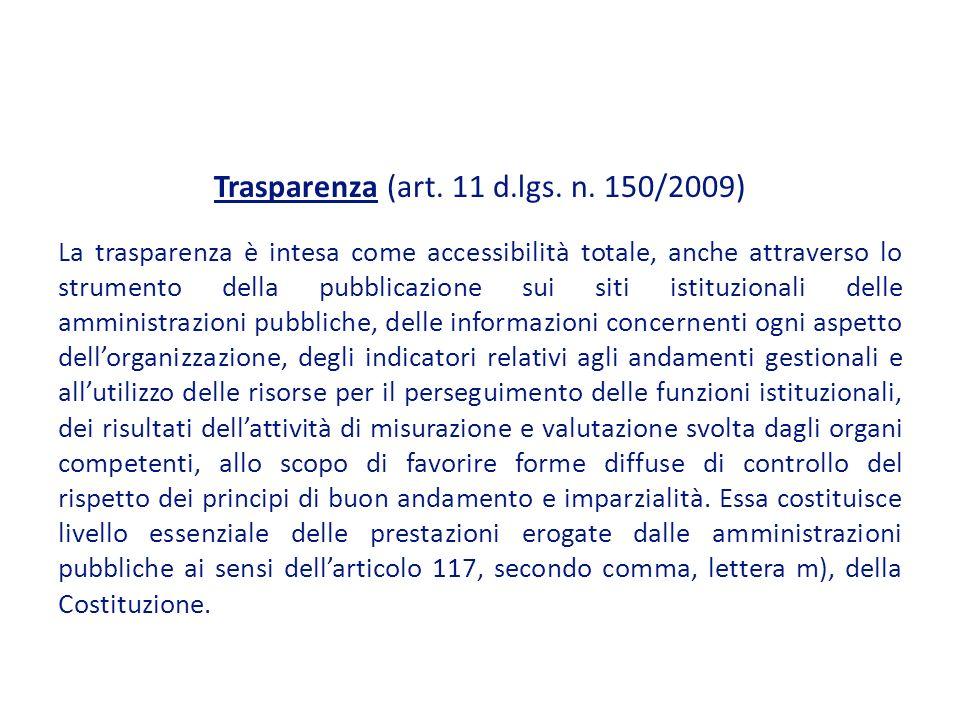 Trasparenza (art.11 d.lgs. n.