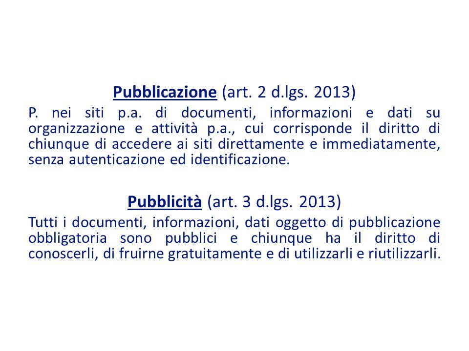 Pubblicazione (art.2 d.lgs. 2013) P. nei siti p.a.