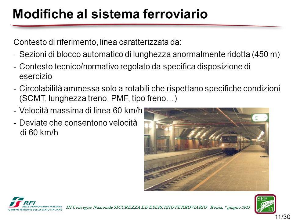 11/30 III Convegno Nazionale SICUREZZA ED ESERCIZIO FERROVIARIO - Roma, 7 giugno 2013 Modifiche al sistema ferroviario Contesto di riferimento, linea