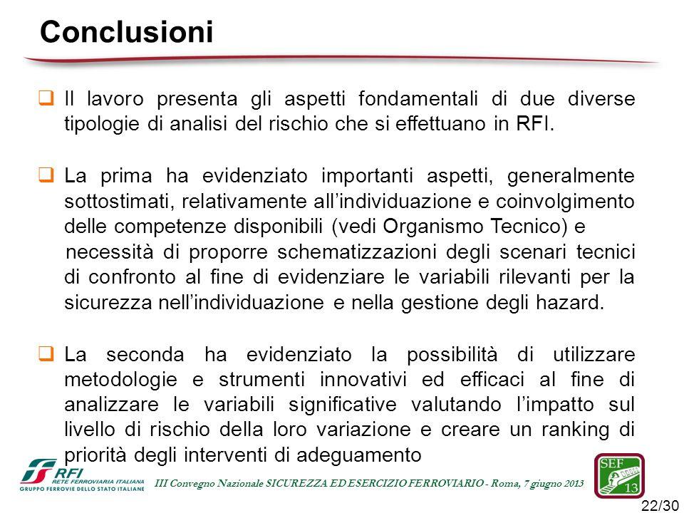 22/30 III Convegno Nazionale SICUREZZA ED ESERCIZIO FERROVIARIO - Roma, 7 giugno 2013 Il lavoro presenta gli aspetti fondamentali di due diverse tipol