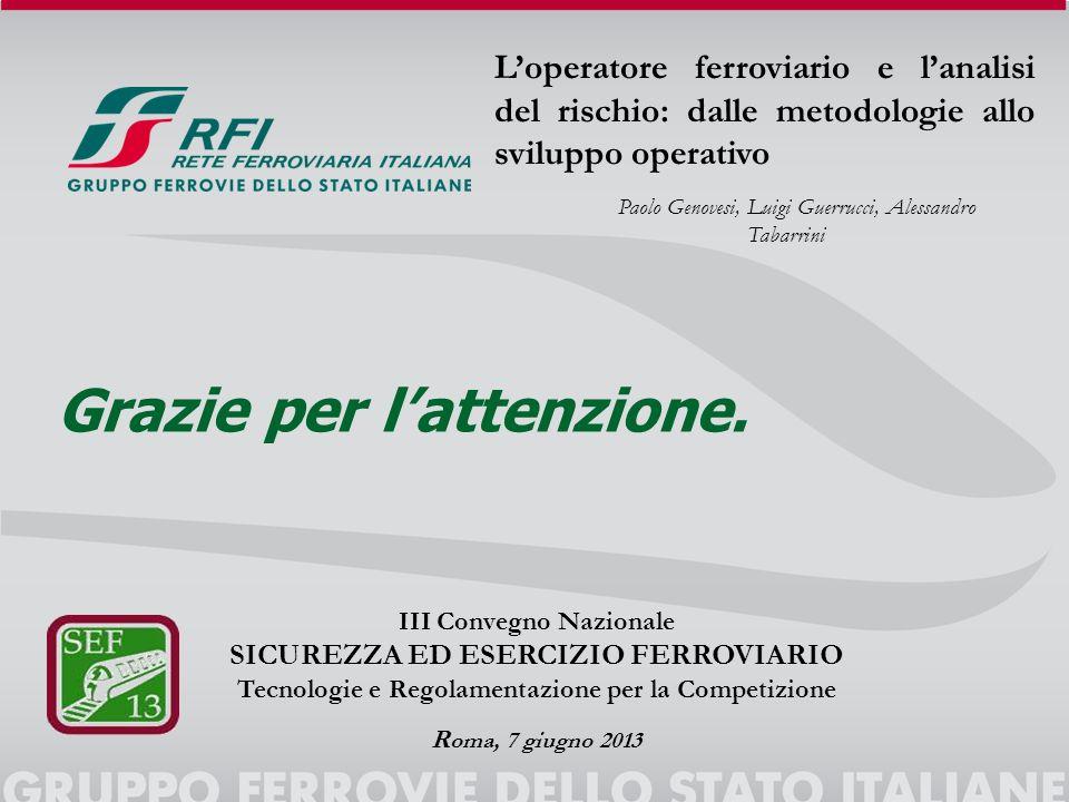 Loperatore ferroviario e lanalisi del rischio: dalle metodologie allo sviluppo operativo Paolo Genovesi, Luigi Guerrucci, Alessandro Tabarrini III Con