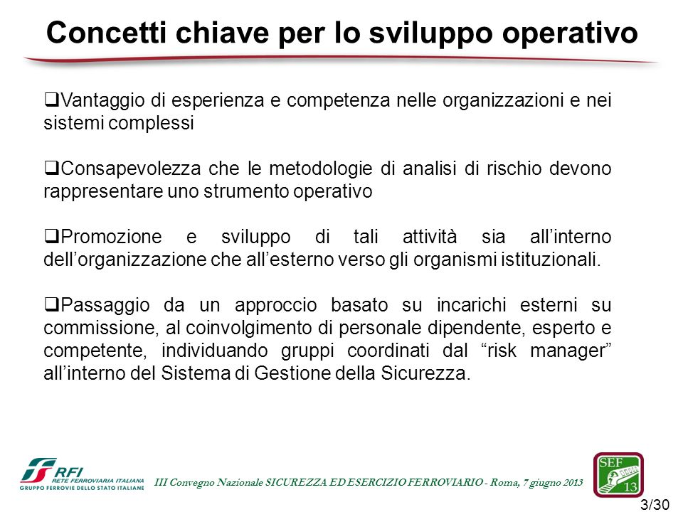 3/30 III Convegno Nazionale SICUREZZA ED ESERCIZIO FERROVIARIO - Roma, 7 giugno 2013 Vantaggio di esperienza e competenza nelle organizzazioni e nei s