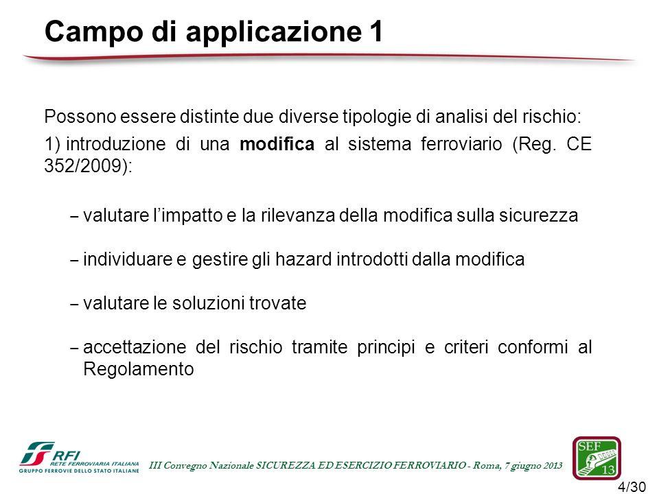 15/30 III Convegno Nazionale SICUREZZA ED ESERCIZIO FERROVIARIO - Roma, 7 giugno 2013 Individuazione, gestione e accettazione degli hazard Hazard Log della modifica