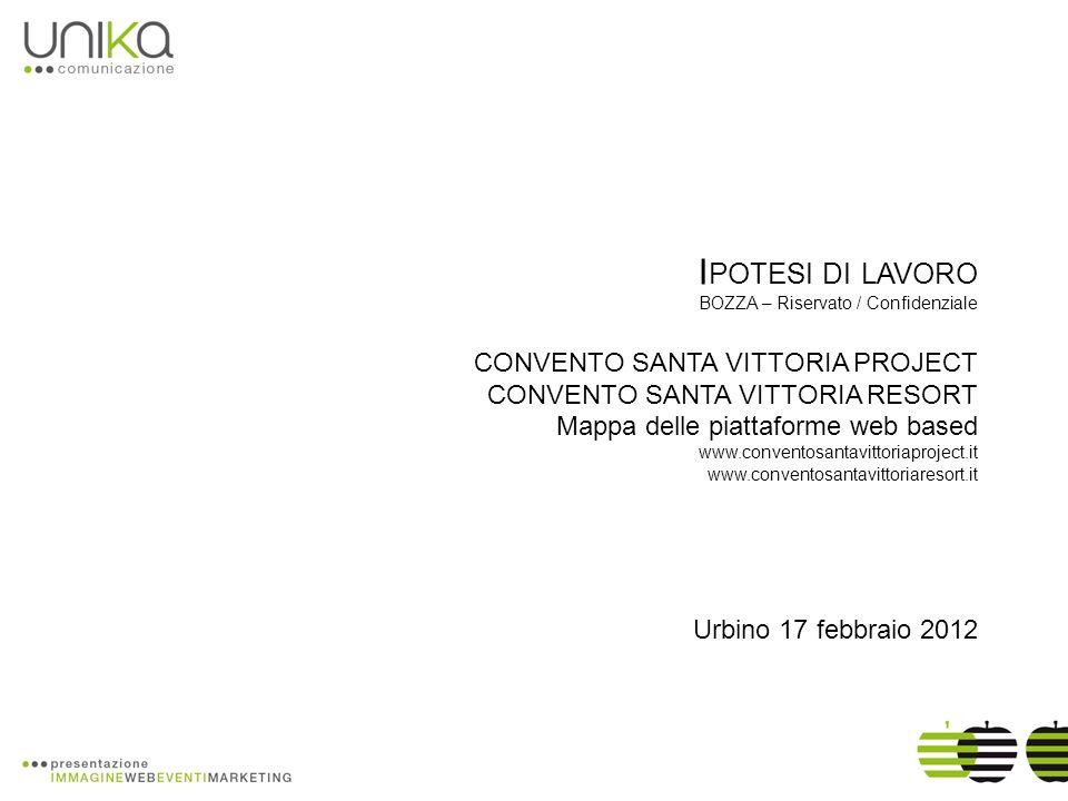 I POTESI DI LAVORO BOZZA – Riservato / Confidenziale CONVENTO SANTA VITTORIA PROJECT CONVENTO SANTA VITTORIA RESORT Mappa delle piattaforme web based
