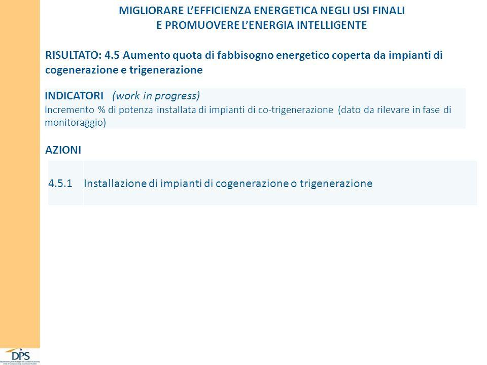 MIGLIORARE LEFFICIENZA ENERGETICA NEGLI USI FINALI E PROMUOVERE LENERGIA INTELLIGENTE INDICATORI (work in progress) Incremento % di potenza installata di impianti di co-trigenerazione (dato da rilevare in fase di monitoraggio) RISULTATO: 4.5 Aumento quota di fabbisogno energetico coperta da impianti di cogenerazione e trigenerazione AZIONI 4.5.1Installazione di impianti di cogenerazione o trigenerazione