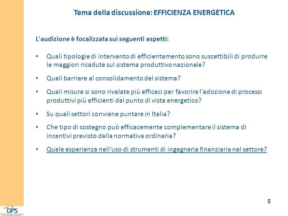 5 Tema della discussione: EFFICIENZA ENERGETICA L audizione è focalizzata sui seguenti aspetti: Quali tipologie di intervento di efficientamento sono suscettibili di produrre le maggiori ricadute sul sistema produttivo nazionale.