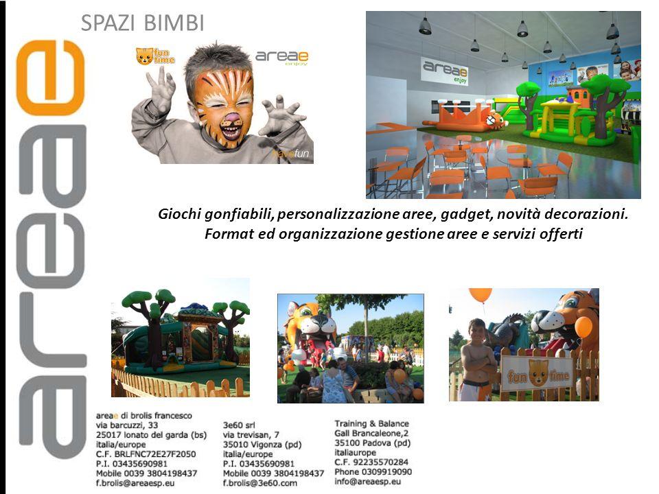 SPAZI BIMBI Giochi gonfiabili, personalizzazione aree, gadget, novità decorazioni. Format ed organizzazione gestione aree e servizi offerti