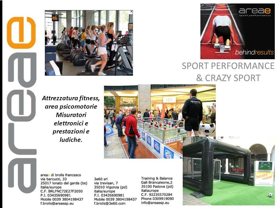 Attrezzatura fitness, area psicomotorie Misuratori elettronici e prestazioni e ludiche. SPORT PERFORMANCE & CRAZY SPORT