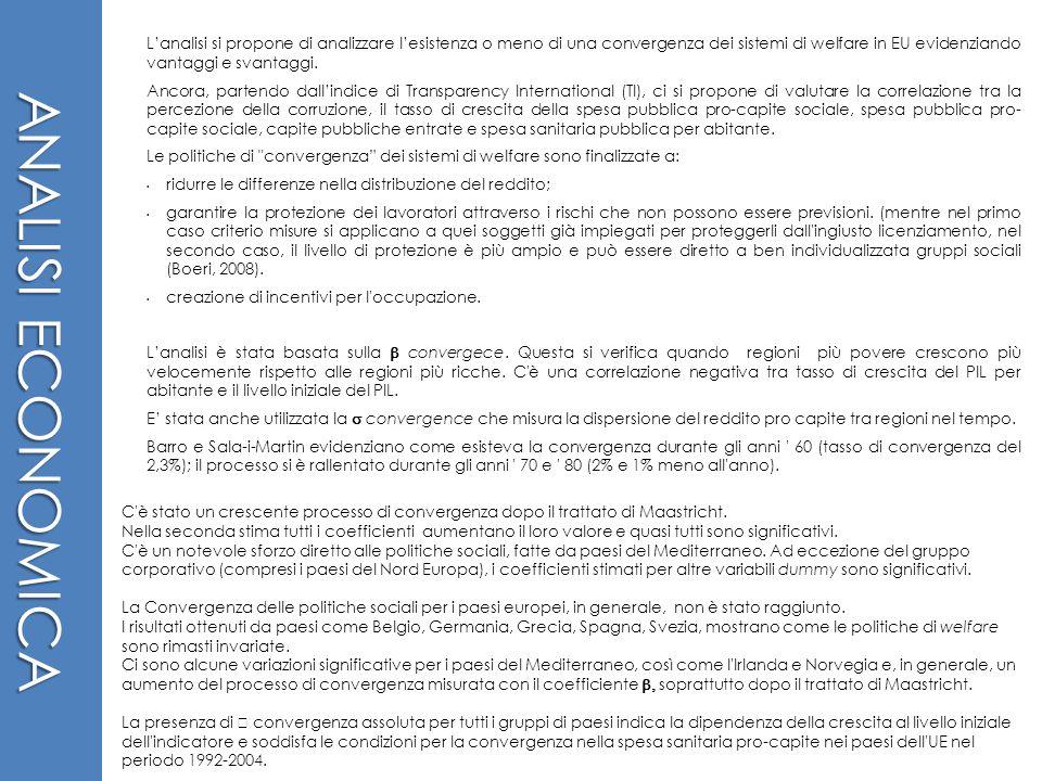 ANALISI ECONOMICA Lanalisi si propone di analizzare lesistenza o meno di una convergenza dei sistemi di welfare in EU evidenziando vantaggi e svantagg