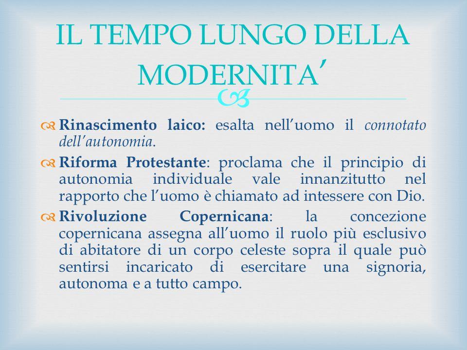Rinascimento laico: esalta nelluomo il connotato dellautonomia. Riforma Protestante : proclama che il principio di autonomia individuale vale innanzit