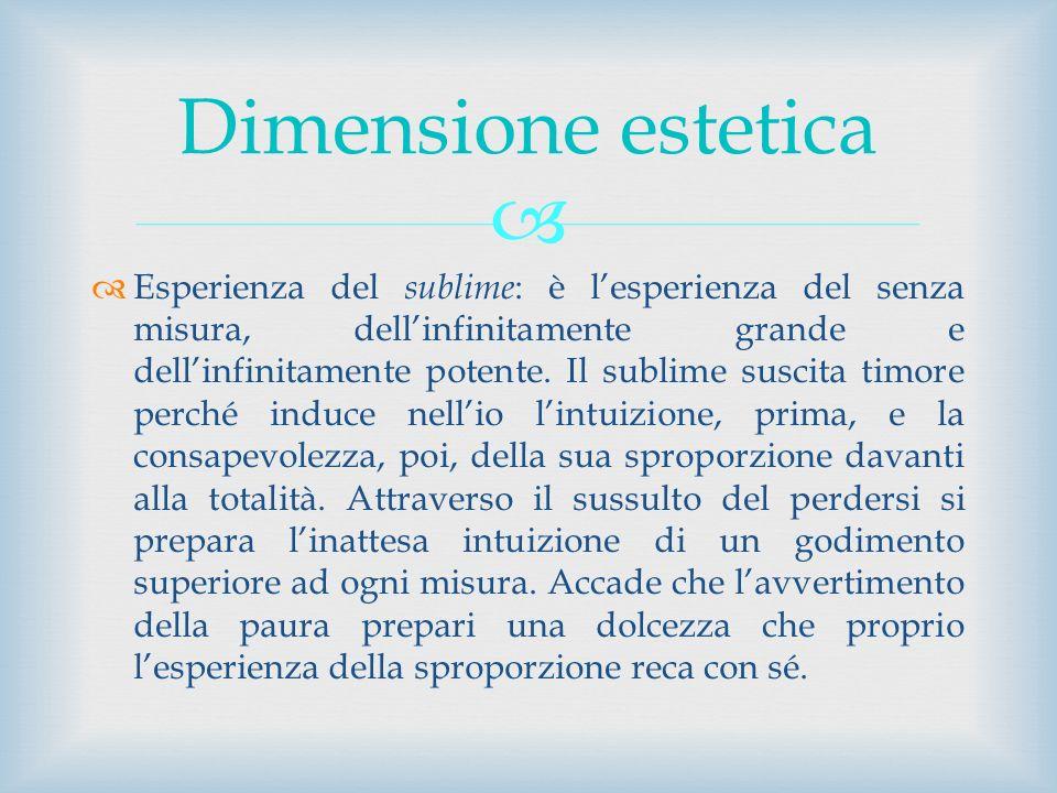 Esperienza del sublime : è lesperienza del senza misura, dellinfinitamente grande e dellinfinitamente potente. Il sublime suscita timore perché induce