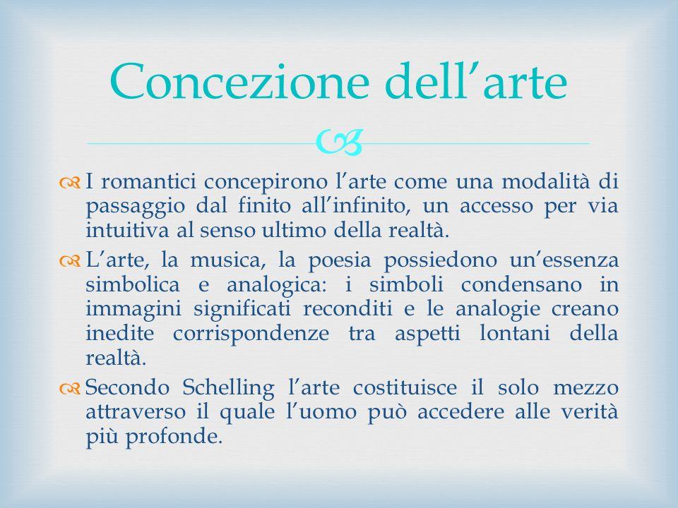 I romantici concepirono larte come una modalità di passaggio dal finito allinfinito, un accesso per via intuitiva al senso ultimo della realtà. Larte,