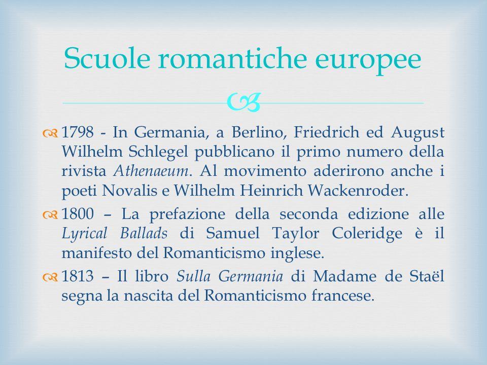 1798 - In Germania, a Berlino, Friedrich ed August Wilhelm Schlegel pubblicano il primo numero della rivista Athenaeum. Al movimento aderirono anche i