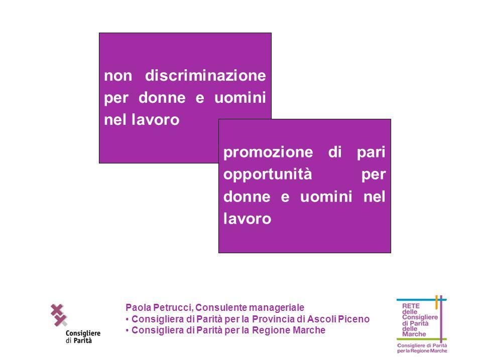 non discriminazione per donne e uomini nel lavoro promozione di pari opportunità per donne e uomini nel lavoro Paola Petrucci, Consulente manageriale