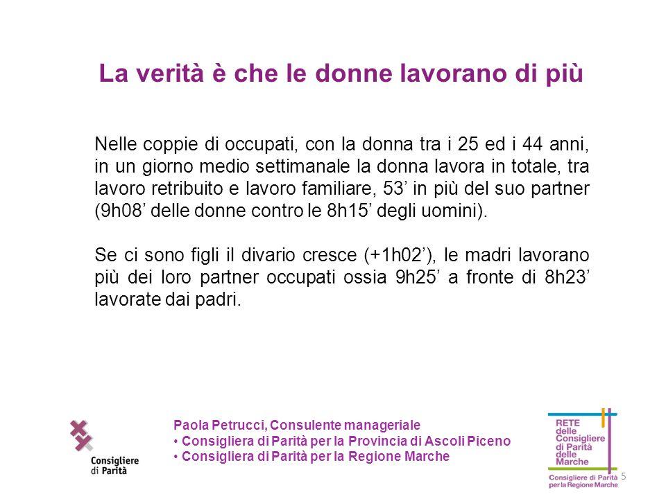 6 Paola Petrucci, Consulente manageriale Consigliera di Parità per la Provincia di Ascoli Piceno Consigliera di Parità per la Regione Marche Lasimmetria dei ruoli è elevata: nelle coppie di occupati il 71,9% delle ore dedicate al lavoro familiare (lavoro domestico, di cura e di acquisto di beni e servizi) è a carico delle donne.