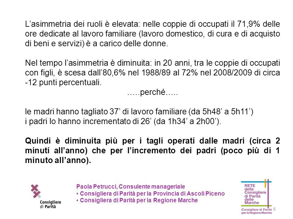 6 Paola Petrucci, Consulente manageriale Consigliera di Parità per la Provincia di Ascoli Piceno Consigliera di Parità per la Regione Marche Lasimmetr