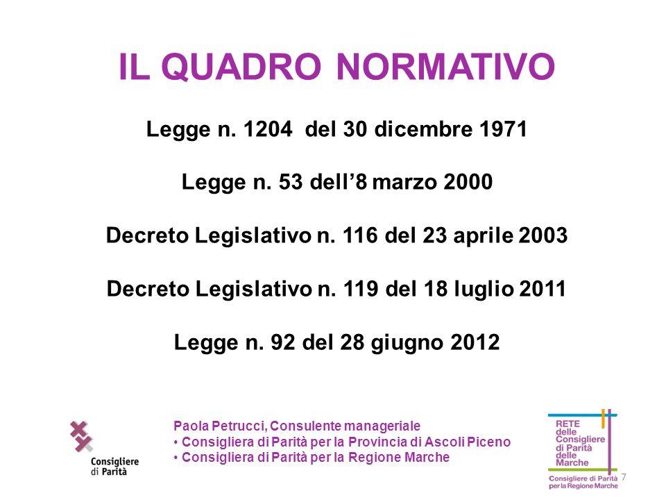 7 Paola Petrucci, Consulente manageriale Consigliera di Parità per la Provincia di Ascoli Piceno Consigliera di Parità per la Regione Marche IL QUADRO