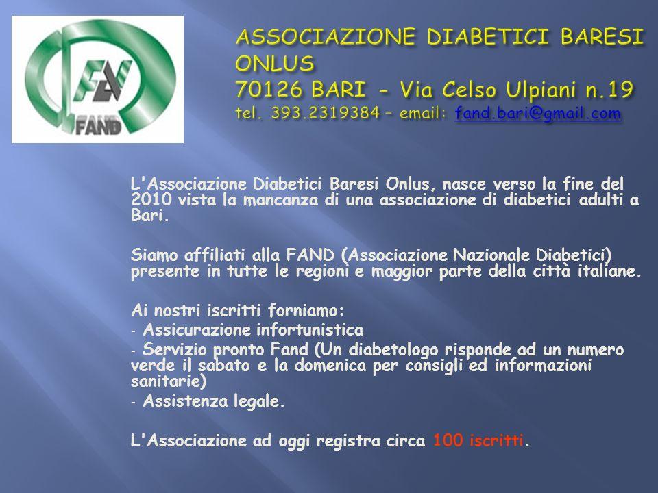 L'Associazione Diabetici Baresi Onlus, nasce verso la fine del 2010 vista la mancanza di una associazione di diabetici adulti a Bari. Siamo affiliati